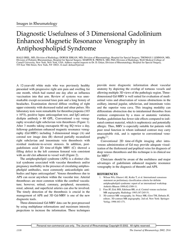 Diagnostic usefulness of 3 dimensional gadolinium enhanced magnetic