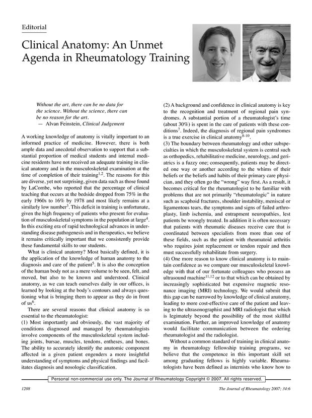 Clinical Anatomy An Unmet Agenda In Rheumatology Training The