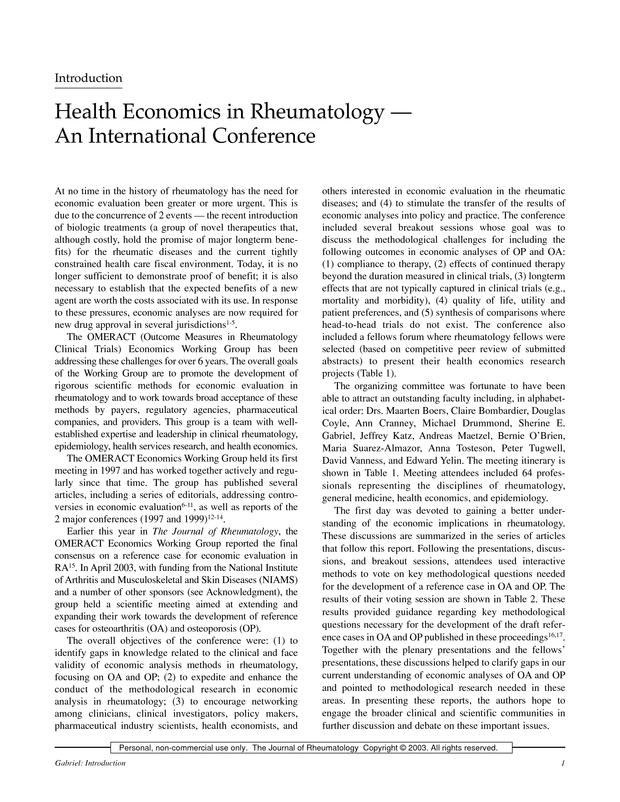 Health Economics In Rheumatology An International Conference The
